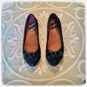 Sperry Topsider Black glitter toe flats.